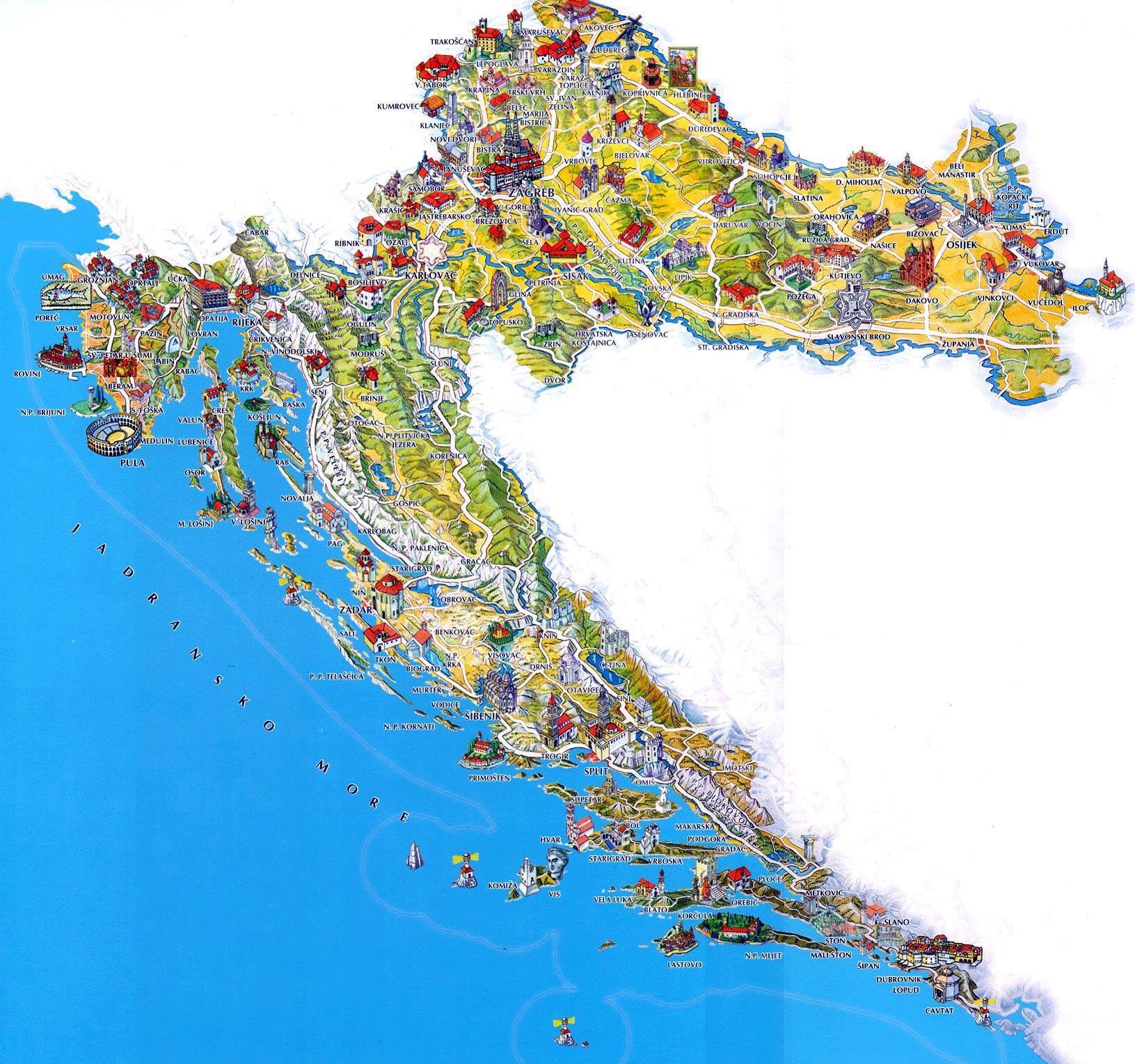 La Croatie Lieux A Visiter Carte